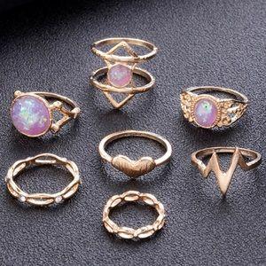Jewelry - Pink & Gold Gemstone Ring Set (7 pack) 💍🤚🏼💖